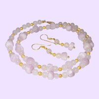 Rose Quartz and Kunzite Neckalce With 1/20th 14 KYG Clasp