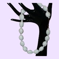 Signed 0.......Miriam Haskell White Milk Glass Bead Necklace
