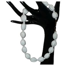Signed Miriam Haskell White Milk Glass Bead Necklace