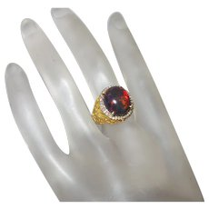 Lab Created Black Opal Ring With Rose Cut Diamonds