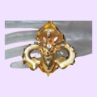 Vintage Slipper Orchid Brooch with Rhinestones