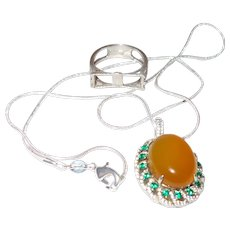 Vintage Amber Pendant With Rhinestones
