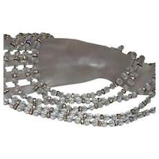 Robert Triple Strand Crystal Necklace With Rhinestone Rondells