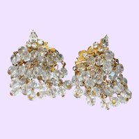 Signed  Robert Twelve Strand Crystal Dangle Earrings