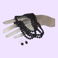 Fifty-Two Inch Black Dyed Chinese Pearl Necklace with Earrings