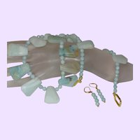 Amazonite Slab Necklace with Earrings