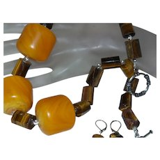 African Barrel Amber with Tiger Eye Tube Beads and Earrings