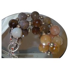 Large Faceted Brazilian Agate Necklace With Bali Silver