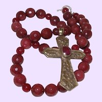 Natural African Ruby Necklace with Nepal Pendant