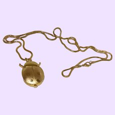 Vintage Gold Plate Lady Bug Watch on Chain