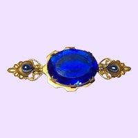 Victorian Revival Blue Glass Brooch