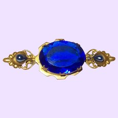 Victorian Revival Blue Glass Brooch
