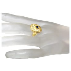 22 Karat Yellow Gold Blue Sapphire Cabochon Ring