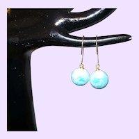 Natural Blue Larimar Dangle Earrings with 14 KYG