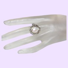Cultured Pearl Ring Set in Silver with Rhinestones