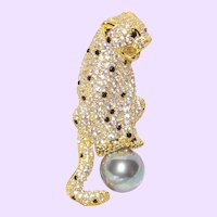Jaguar Panther Faux Pearl Brooch with Natural Zircons