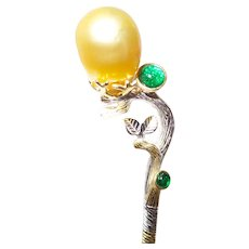 South Sea Pearl Hair Pin With Lab Created Emeralds Set in Sterling Silver and 14KYG