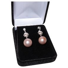 South Sea Dangle Pearl Earrings with White Zircons