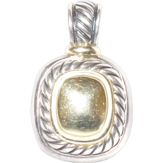 David Yurman Albion Enhancer Pendant Sterling Silver 14kt Yellow Gold