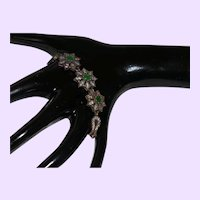 Ethnic Link Bracelet with Natural Emeralds and White Zircons