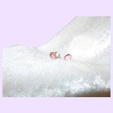 Pink Tourmaline Studs In Silver