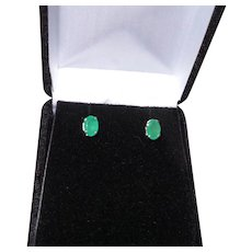 Classic Natural Emerald Sterling Silver Stud Earrings