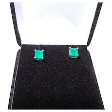 Green Onyx Earring Studs With 925 Sterling Silver Studs