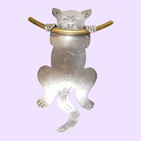 Signed Mexico Sterling Silver Kitty Brooch