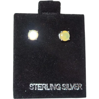 Ethiopian Opal Sterling Silver Stud Earrings