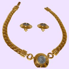 Signed Carolee Gold-Plated Roman Coin Necklace Set