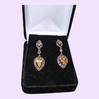 Vintage Faux Champagne Diamond and Marcasite Dangle Earring