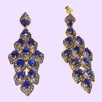 Estate Blue Spinel Dangle Earrings With Rose Cut Diamonds