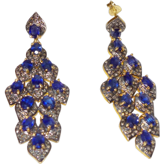 Estate Blue Spinel Dangle Earrings With Rose Cut Diamonds