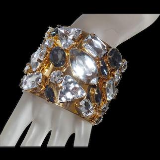 Large Cuff and Rhinestone Bracelet