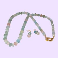 Morganite Faceted Rondelle Necklace with Earrings