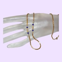 Vintage Gold Tone Box Chain with Glass Lapis Beads