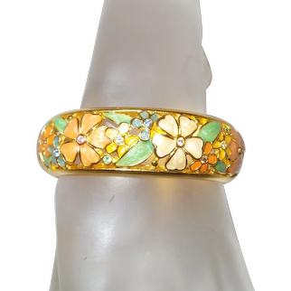 Joan Rivers Vintage Enamel Floral Gold Tone Cuff Bracelet