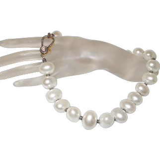 Cultured Mabe' Pearl Neckalce with Diamond Clasp and Rondells