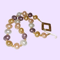 Mabe' Pearl Necklace with 14KYG Filled Diamond Cut Spacers