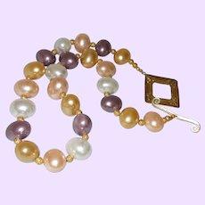 Mabe' Pearls with 14KYG Diamond Cut Balls