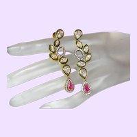 Ruby and Zircon Vintage Stud Dangle Earrings
