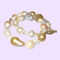 Cultured Baroque Pearl Necklace with Vermeil Clasp