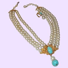 Unsigned Florenza Triple Strand of Faux Pearls With Faux Turquoise