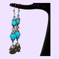 Egyptian Revival Faux Turquoise and Pharaoh Dangle Earrings