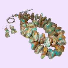 Turquoise and Silver Nugget Necklace