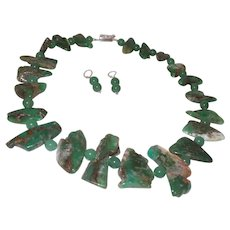 Beaded Chrysoprase Neckalce Made With Slabs and Round Beads
