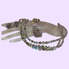 Signed Laguna Vintage Triple Strand Necklace, Bracelet and Earrings