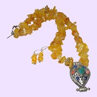 Baltic Amber Chip Necklace with Nepal Pendant