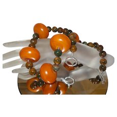 Cognac Colored Barrel Amber with Red Creek Jasper Beads