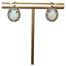 Ethiopian Welo Opal and Rose Cut Diamond Earrings in Oxide Silver